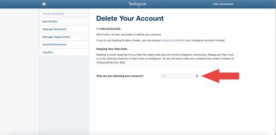 رابط حذف حساب انستقرام نهائياً